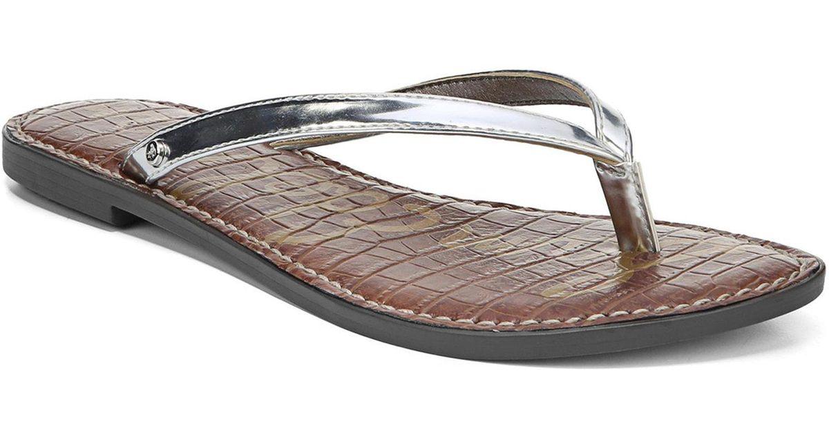 2cc0dd283a4 Lyst - Sam Edelman Gracie Liquid Metallic Leather Thong Sandals in Metallic