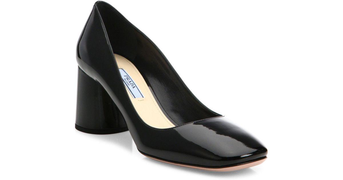 55f98f1ab8b Lyst - Prada Round Block Heel Patent Leather Pumps in Black