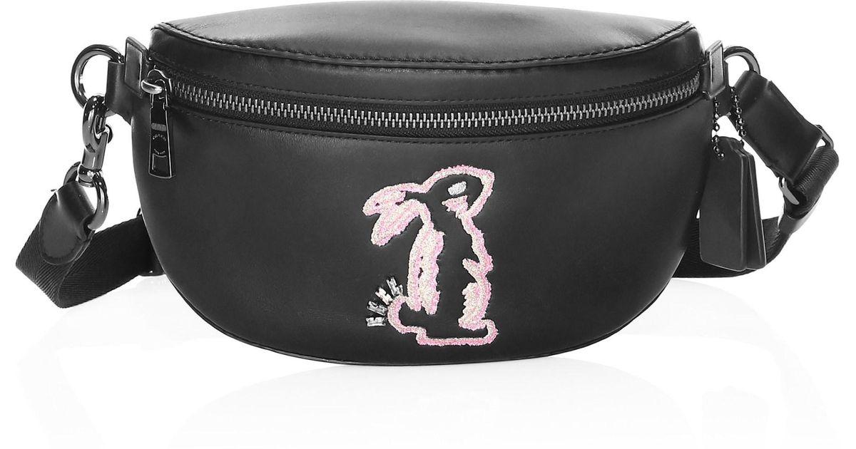03dcd1c11f Lyst - COACH X Selena Gomez Bunny Belt Bag in Black
