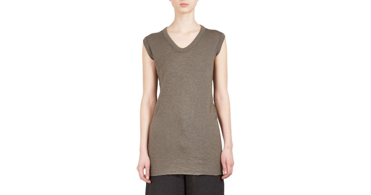 42dfaf513 Lyst - Rick Owens Women's Floating V-neck Sleeveless Tee - Dark Dust - Size  38 (2) in Gray