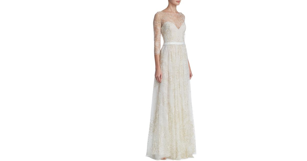 Lyst - Notte By Marchesa Glitter Tulle Floor-length Gown in White