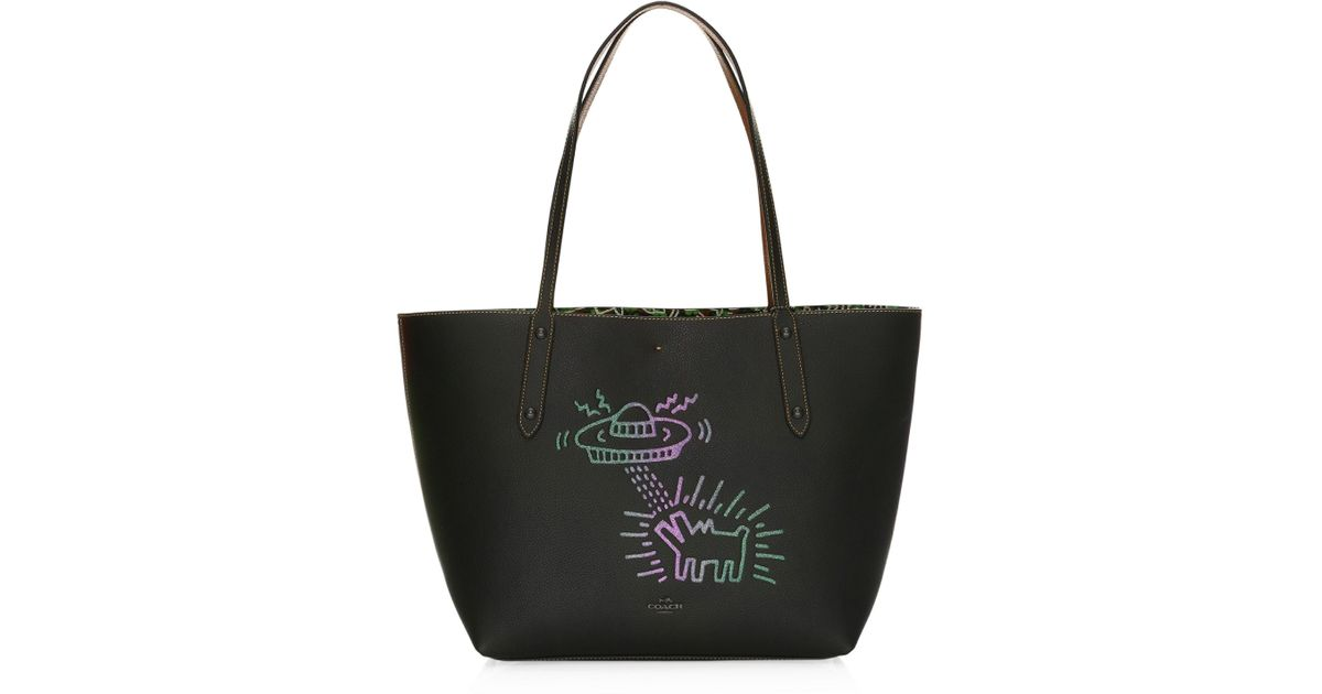 f75815c49c COACH Keith Haring Ufo Dog Leather Market Tote in Black - Lyst