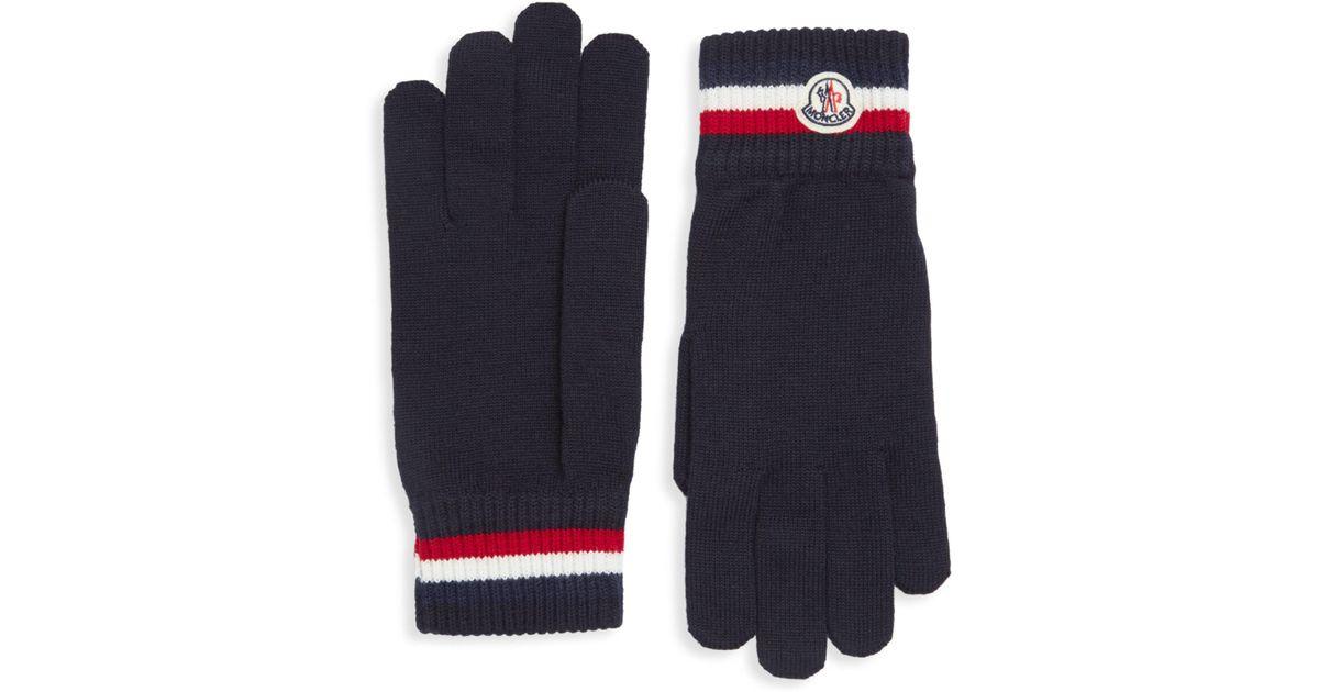 41d3600ca7e9 Lyst - Moncler Guanti Virgin Wool Gloves in Blue for Men