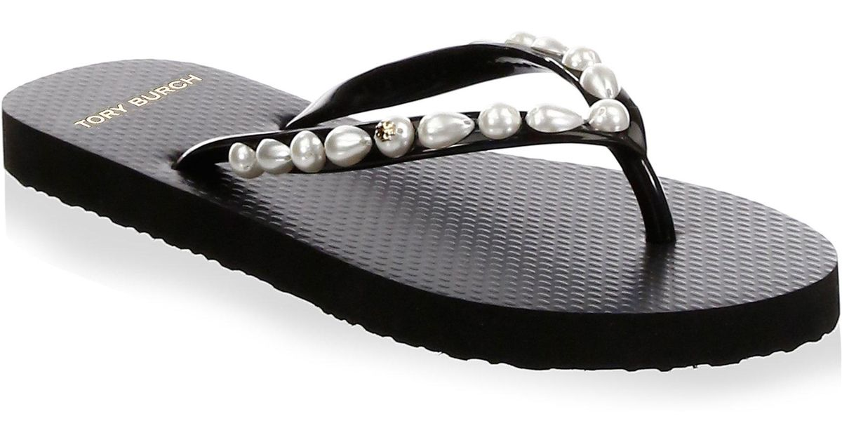 d79ff070f7c4 Lyst - Tory Burch Women s Faux Pearl Embellished Flip-flops in Black