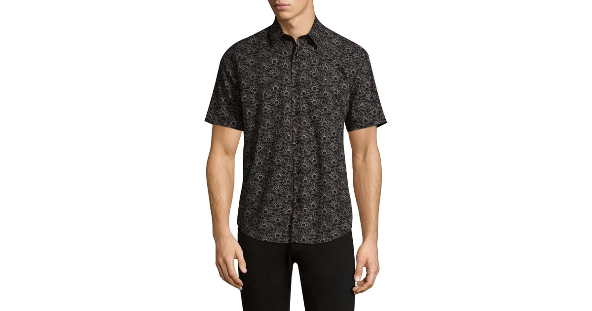 Lyst Theory Wool Button Down Shirt In Black For Men
