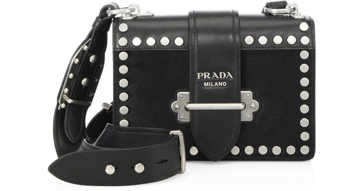 ... norway lyst prada bandoliera studded calf hair leather shoulder bag in  black bc13b c7eed 6bfd58f41e4ba