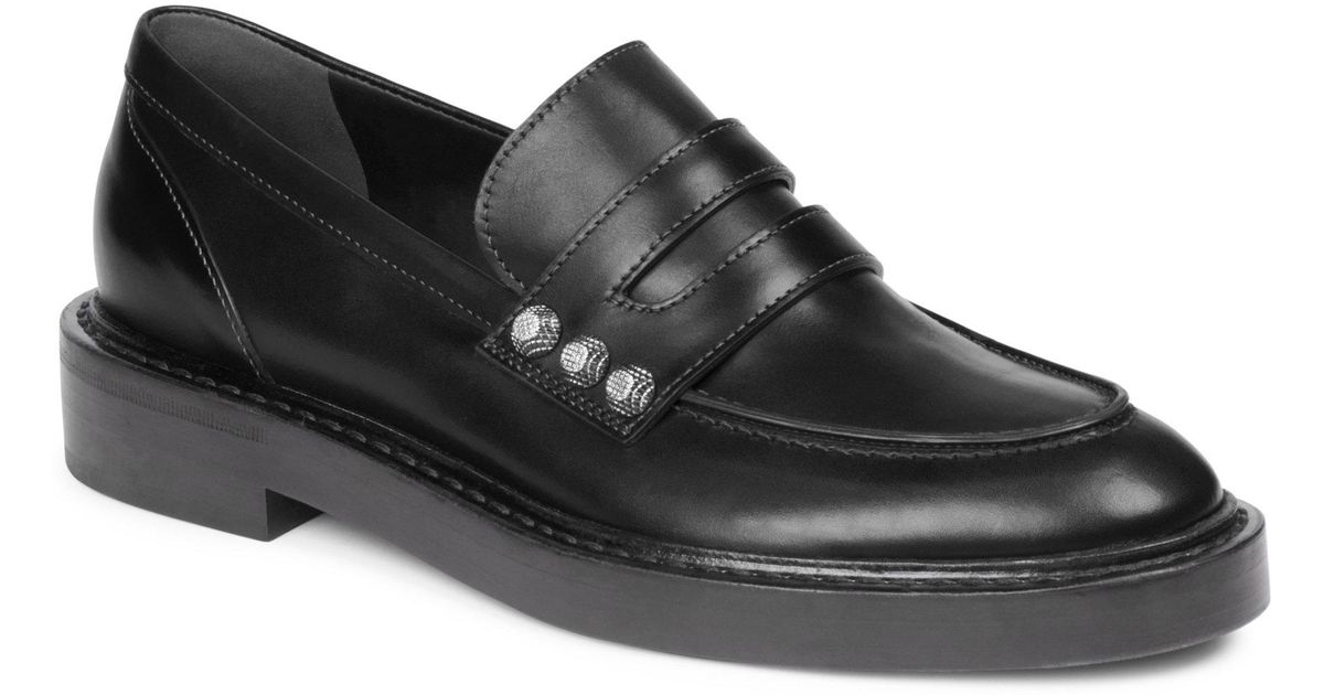 99e5871d056e Lyst - Balenciaga Studded Leather Loafers in Black