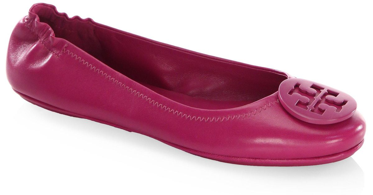 c2044110c0554 Lyst - Tory Burch Minnie Travel Leather Ballet Flats in Purple