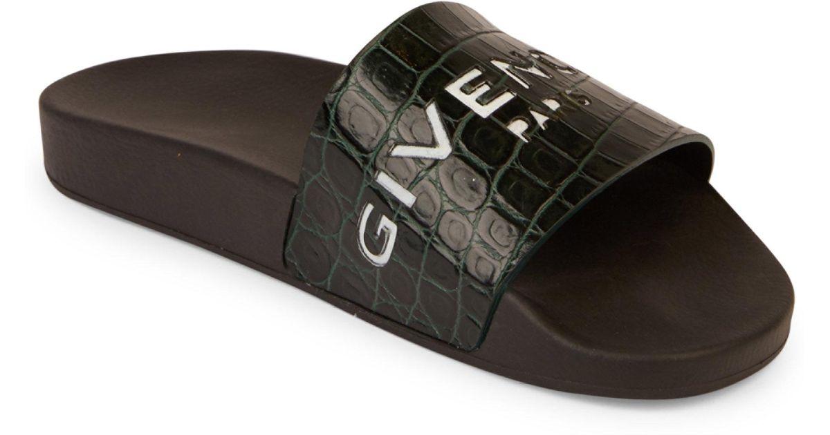 c57fc501d058 Givenchy Logo Croc-embossed Leather Slides for Men - Lyst