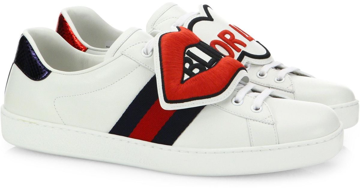 73b9ece52 Gucci New Ace Blind For Love Leather Sneakers in White for Men - Lyst
