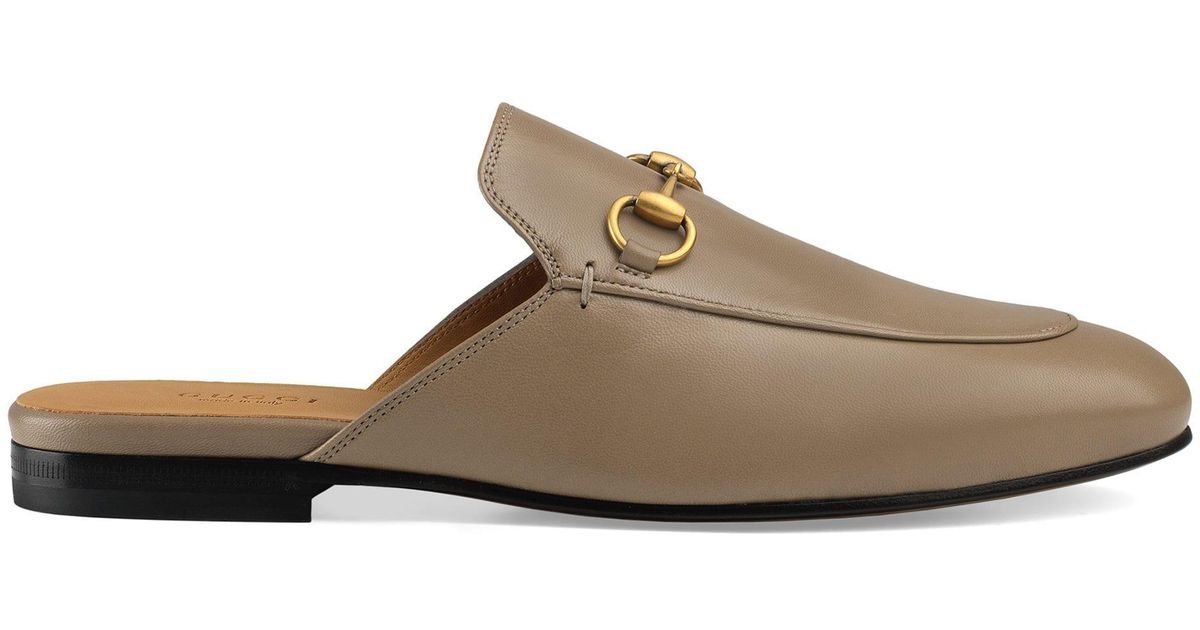 8f3ab7e96ba Lyst - Gucci Women s Princetown Leather Slipper in Brown