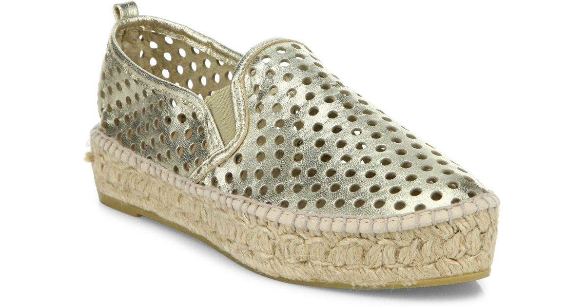 Loeffler Randall Rowan Perforated Metallic Leather Platform Espadrille Sneakers