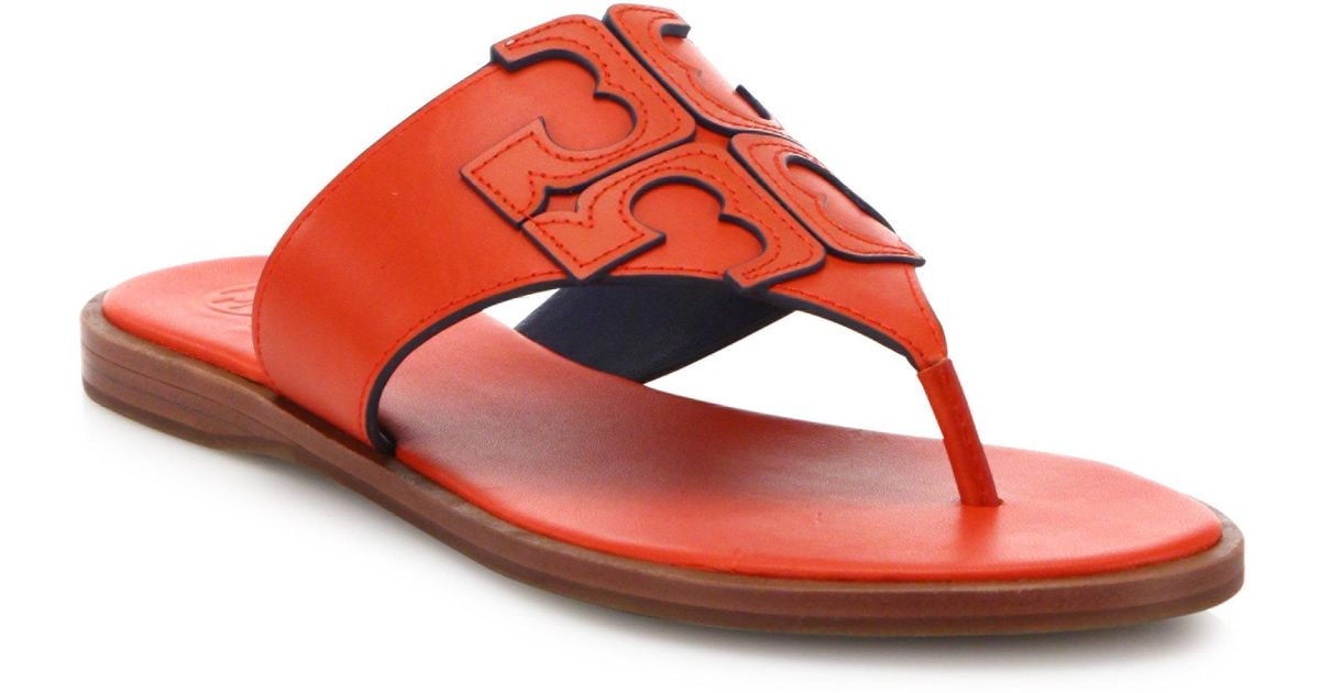 dae90d0837d Lyst - Tory Burch Jamie Leather Logo Thong Sandals in Red