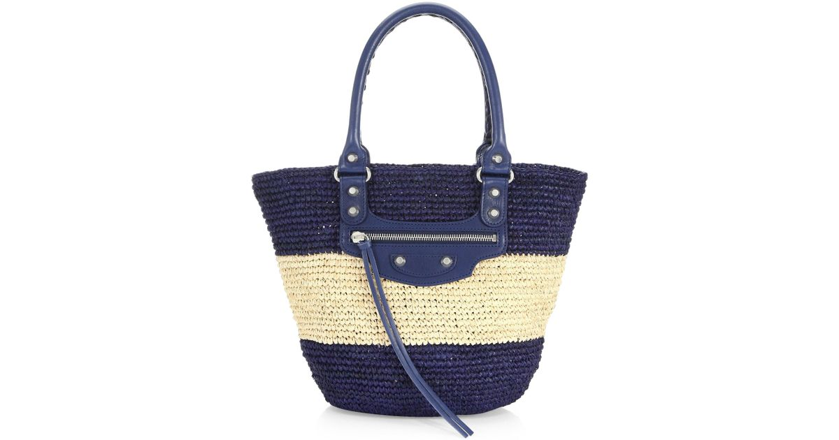 067581bba51 Balenciaga Small Panier Raffia Striped Tote in Blue - Lyst