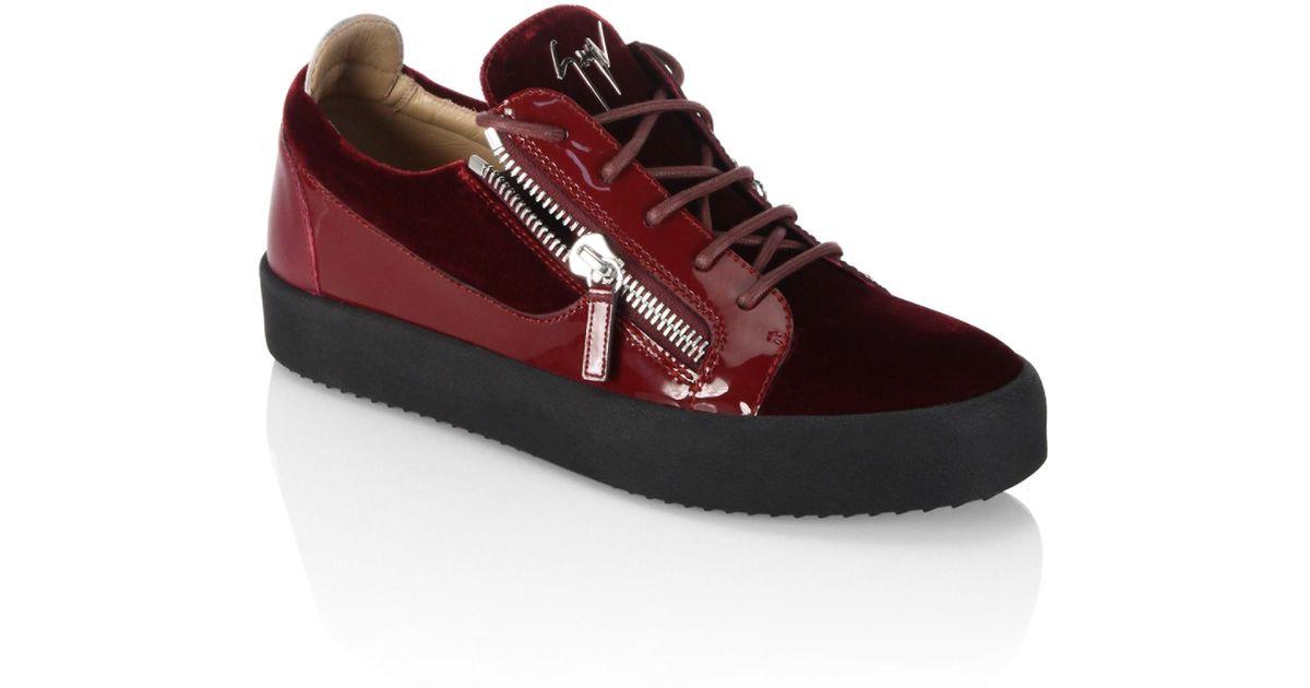 479593c84e3 Lyst - Giuseppe Zanotti Low Velvet Amaranto Leather Sneakers in Red for Men