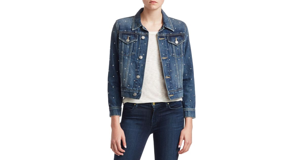 d507caf28 Lyst - Current Elliott The Baby Trucker Studded Jean Jacket in Blue