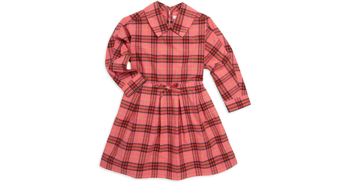 23f8e33804fc Lyst - Burberry Little's Girl's & Girl's Cressida Plaid Fit-&-flare Dress -  Coral Red in Red