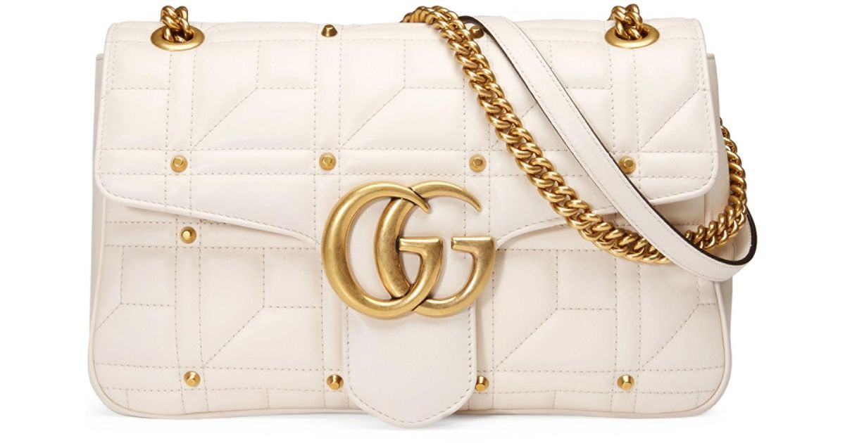 122865b67d72 Lyst - Gucci Gg Marmont Studded Matelassé Leather Medium Chain Shoulder Bag  in White