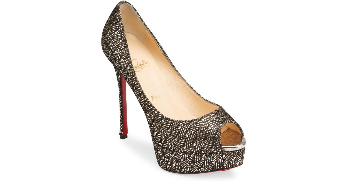 4086f70fbc93 Christian Louboutin Fetish 130 Peep Toe Platform Pump in Metallic - Lyst