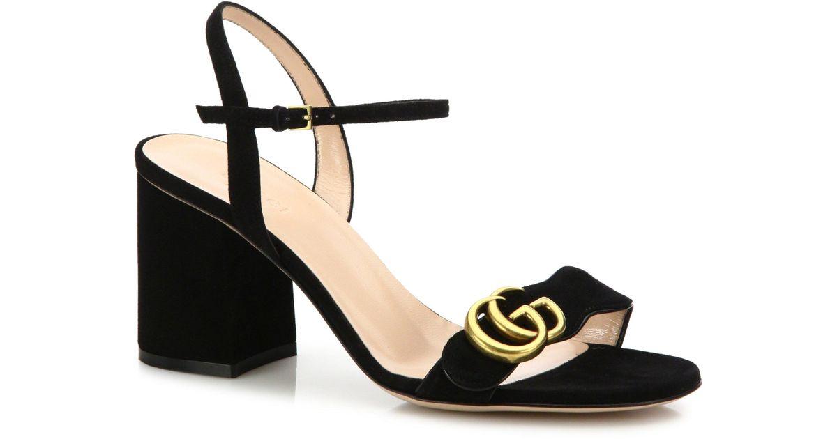 e44dc24bf9e Gucci Gg Marmont Sandal in Black - Lyst