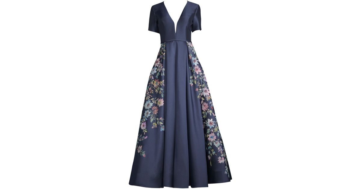 32a945656e4 Basix Black Label Hand Painted Floral Gown in Blue - Lyst