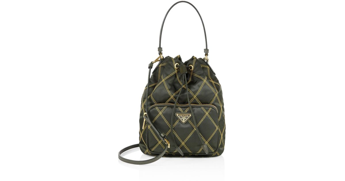 2a8aa0df6786 Prada Tessuto Impunturato Quilted Bucket Bag in Green - Lyst