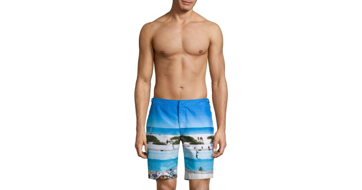 68a9273c5d Orlebar Brown Men's Dane Ii Pine Va-cay Longest-length Swim Trunks - Pine  Vacay - Size 36 R in Blue for Men - Lyst