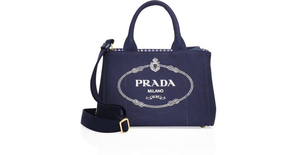 10f5b822a15a97 Prada Canapa Canvas Tote in Blue - Lyst