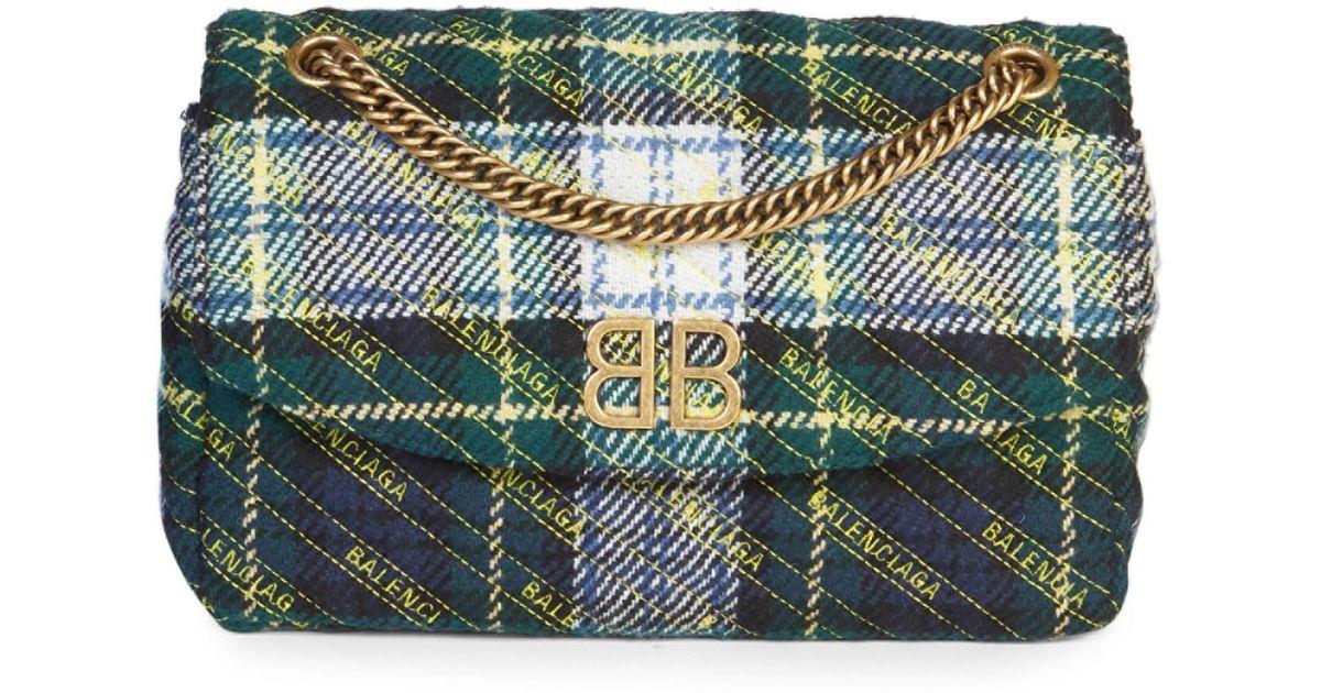 7a4c43e5f8 Lyst - Balenciaga Women s Bb Logo Plaid Crossbody Bag - Rouge in Blue