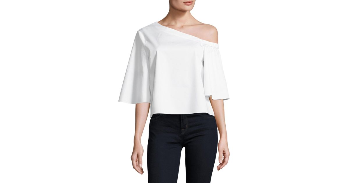 972b23ce7bb Tibi Satin Poplin One Shoulder Cotton Top in White - Lyst