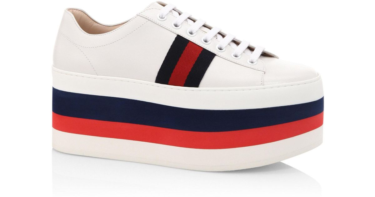 b9273cec1 Gucci Peggy Leather Rainbow Platform Sneakers in White - Lyst