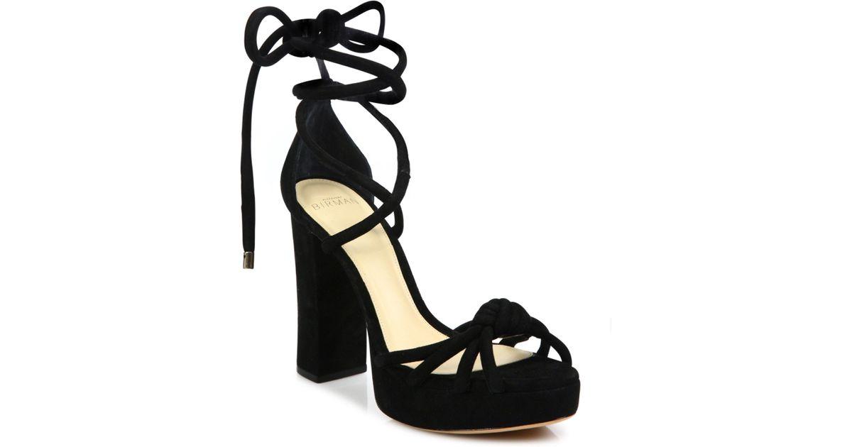Lyst - Alexandre birman Jannele Knotted Suede Ankle-wrap Block Heel Sandals  in Black