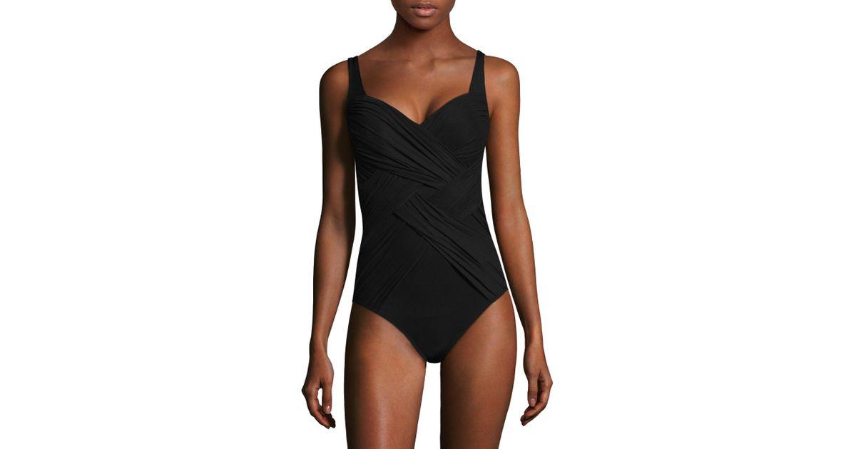 d0a8f94f41 Gottex One-piece Crisscross Wrap Swimsuit in Black - Lyst