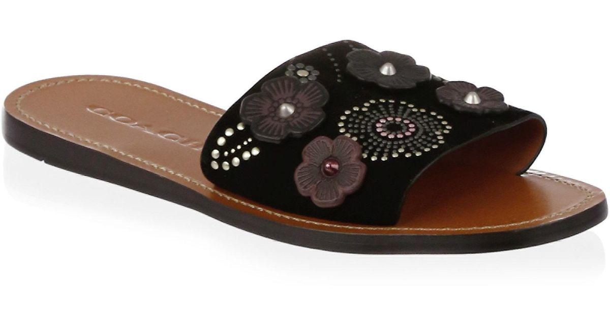 f7294118e29 Lyst - COACH Rivet Tea Rose Slide Sandal in Black