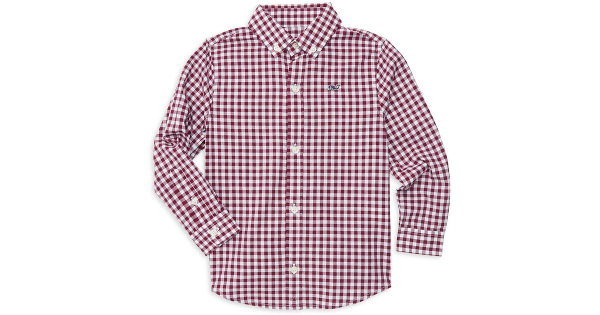 66a8ba907cc Vineyard Vines Little Boy's & Boy's Grovedale Gingham Whale Shirt in Red  for Men - Lyst