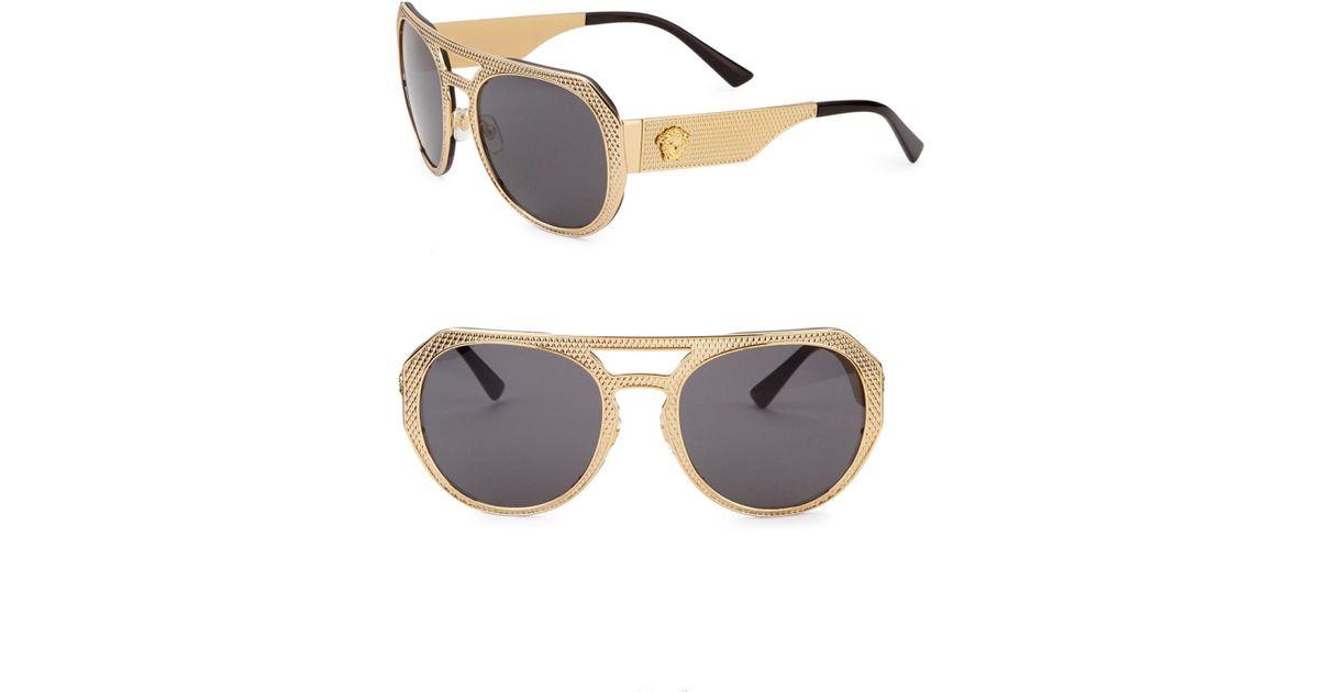 3389b9d18c75 Lyst - Versace 60mm Textured Aviator Sunglasses in Metallic for Men