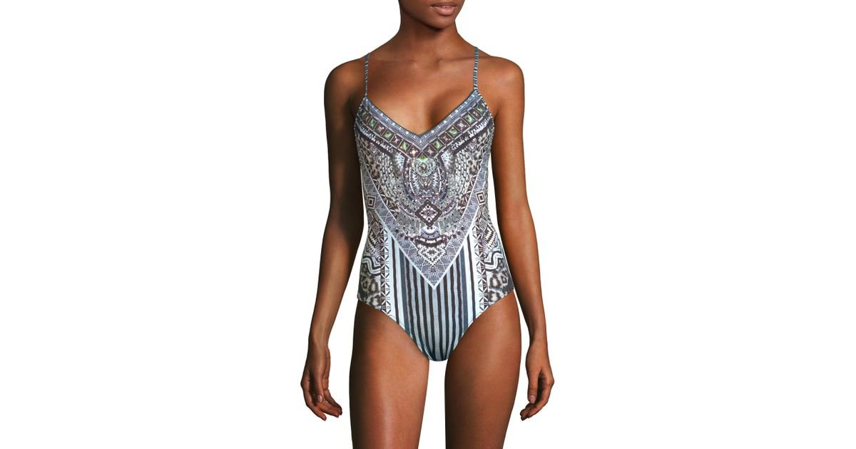 7dad99c483 Camilla Rio With Love One-piece V-neck Swimsuit - Lyst