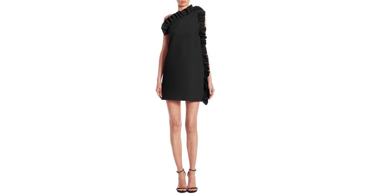 Lyst Msgm Side Ruffle Dress In Black