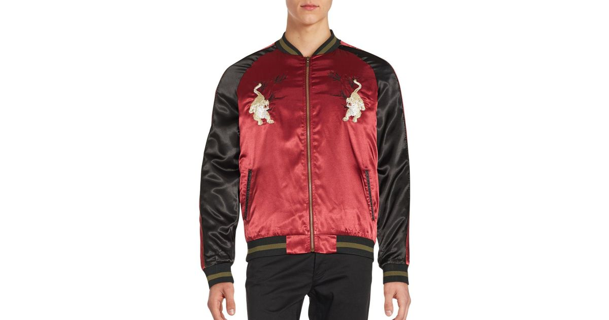 Standard issue tiger souvenir embroidered varsity jacket