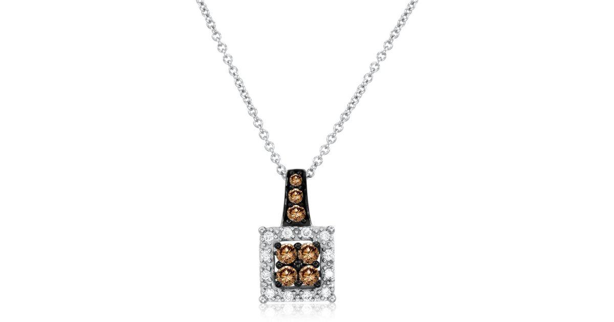 Lyst le vian chocolatier diamond 14k white gold square pendant lyst le vian chocolatier diamond 14k white gold square pendant necklace in metallic aloadofball Image collections