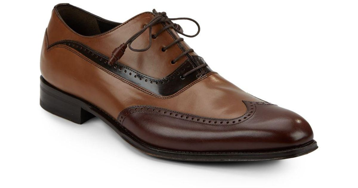 a90eb92559 Lyst - Mezlan Tri-tone Leather Wingtip Oxfords in Brown for Men