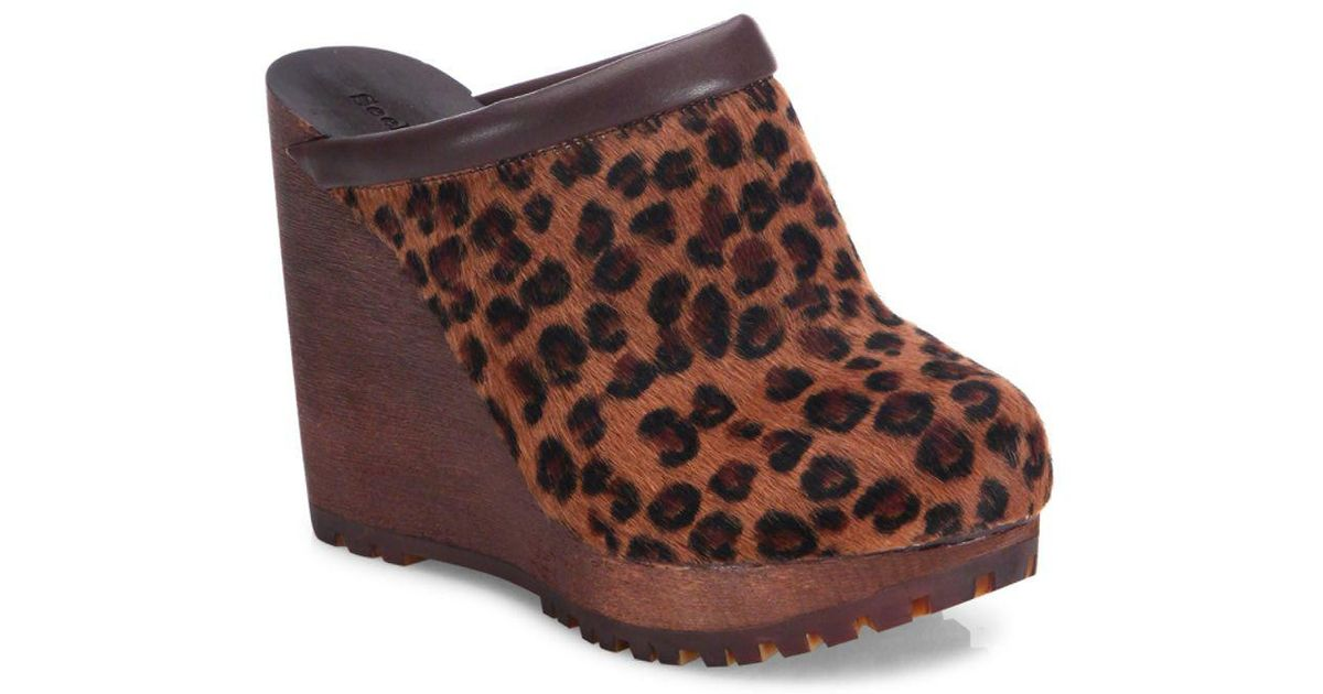 36098cafe5c Lyst - Chloé Clive Leopard Print Calf Hair Wedges in Brown