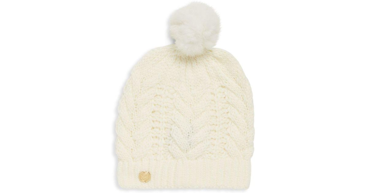 1cf4528e276e0 Lyst - Vince Camuto Cable-knit Rabbit Fur Pom-pom Hat in Natural