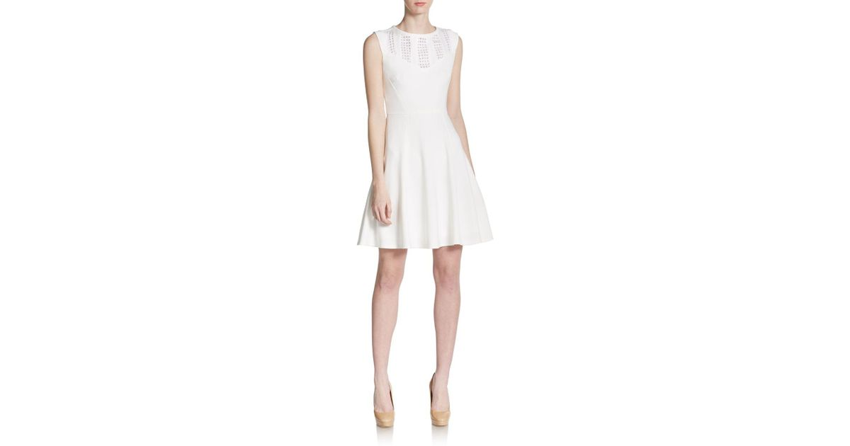 d72849af1ac Lyst - Betsey Johnson Cutout-detailed Fit-and-flare Dress in White