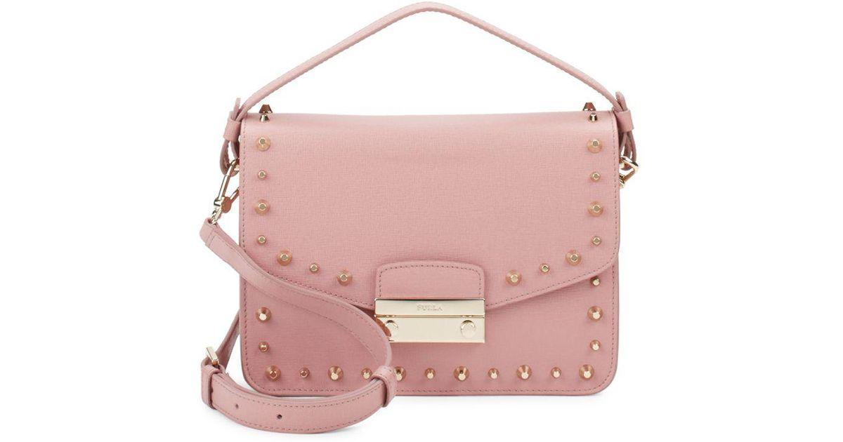 e36e2854d095 Furla Julia Studded Leather Shoulder Bag in Pink - Lyst