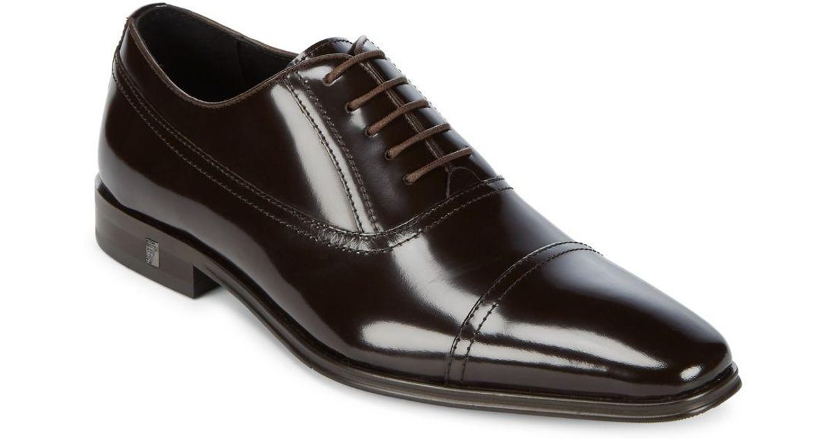 976cd4668fb Lyst - Versace Cap Toe Leather Oxfords in Black for Men