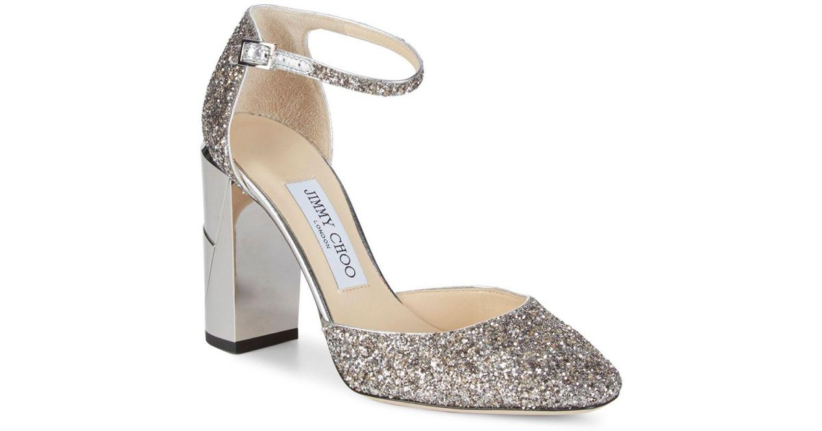 fbd35ad1ae79 Jimmy Choo Mabel Metallic Glitter Block Heels in Metallic - Lyst