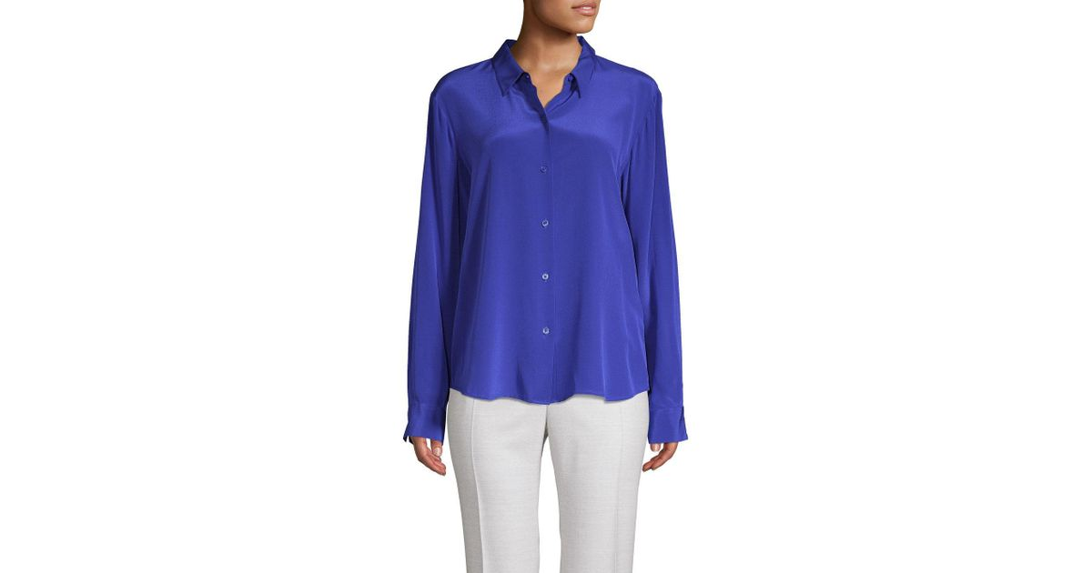40aa40fb Donna Karan Silk Button-down Shirt in Blue - Lyst