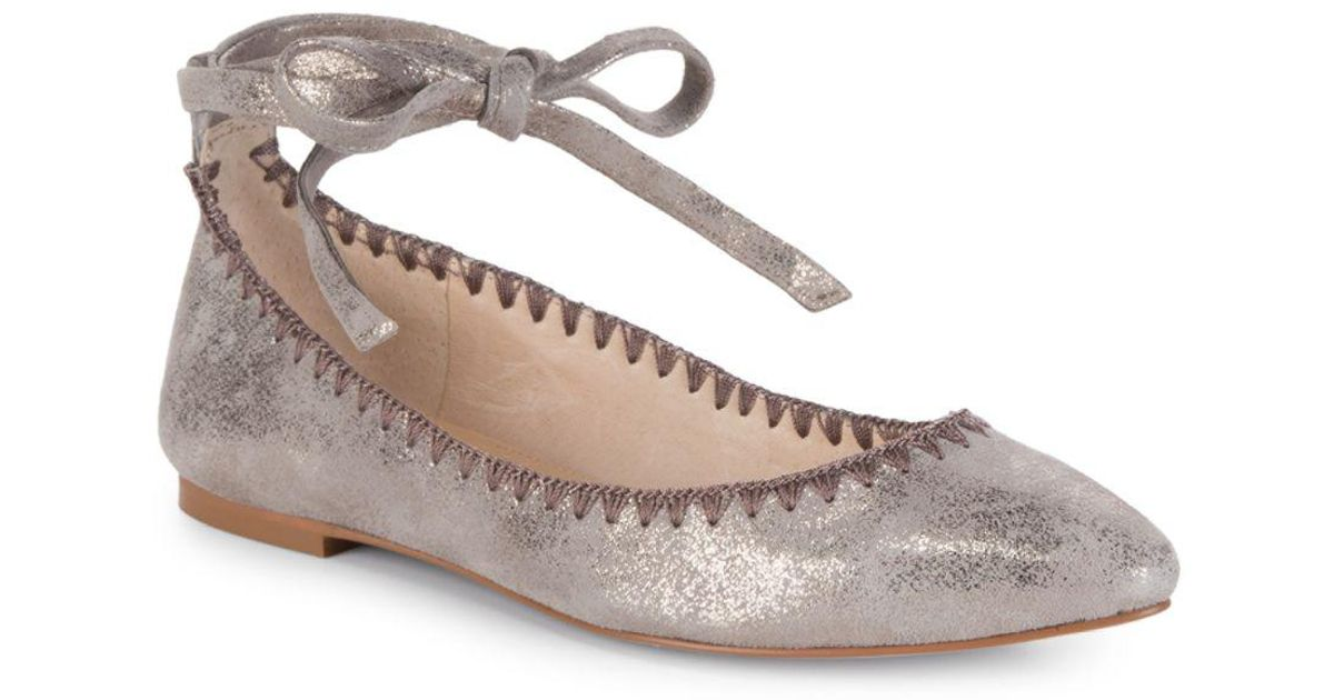 734f9f6b5fd Lyst - Vince Camuto Braneeda Leather Ankle-strap Flats in Gray