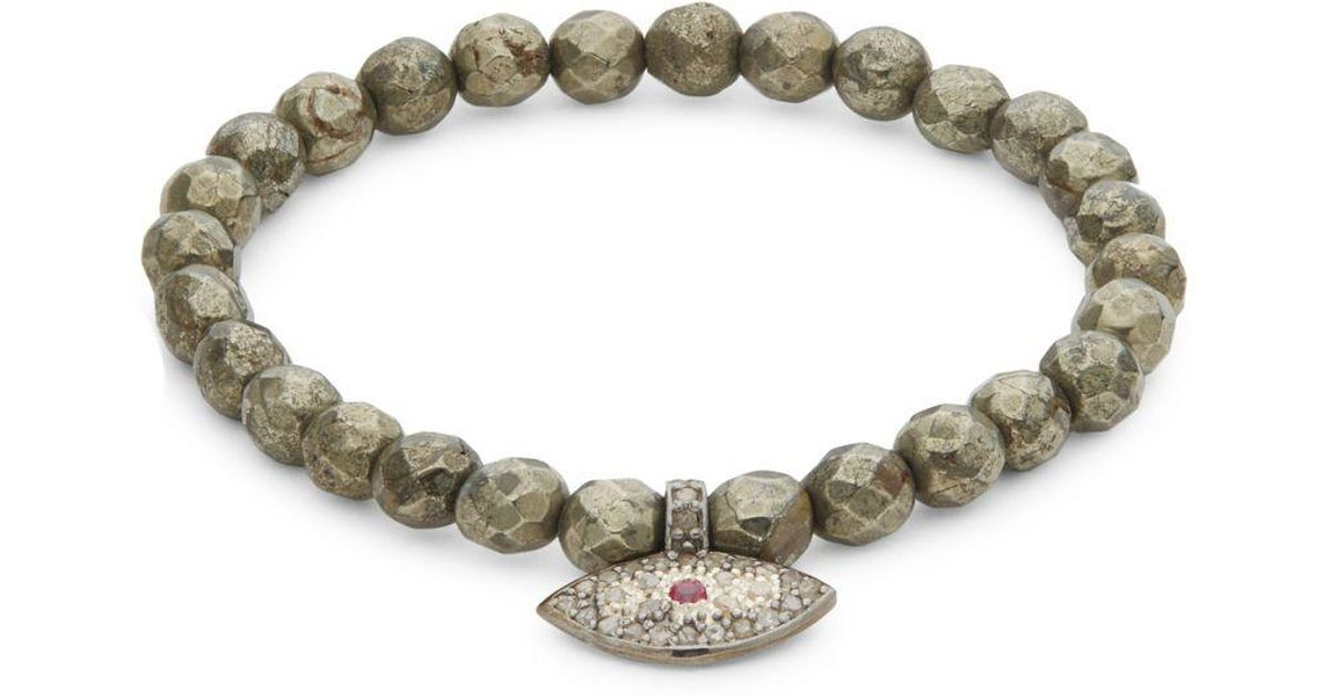 Bavna Diamond & Aquamarine Station Bracelet Oitcm